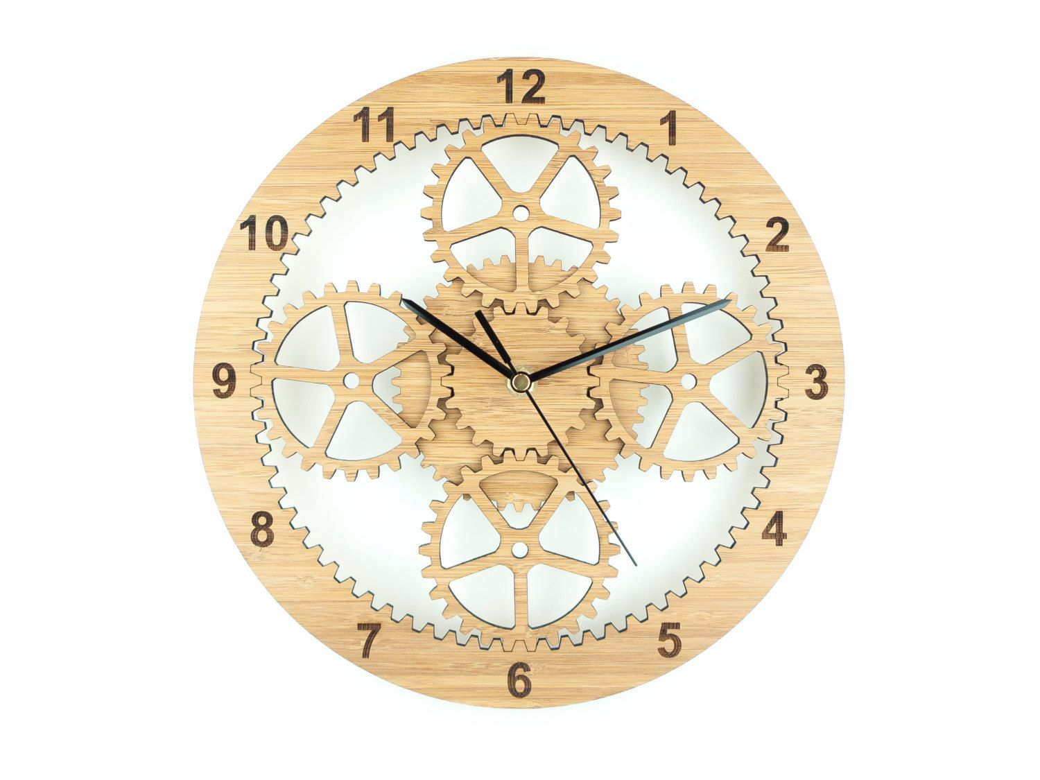 Gears Clock, Industrial Wall Clock, Unique Clock, Wooden Cog Clock ...