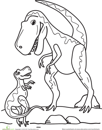 T Rex Family Coloring Page Preschool Dinosaur Coloring Sheets