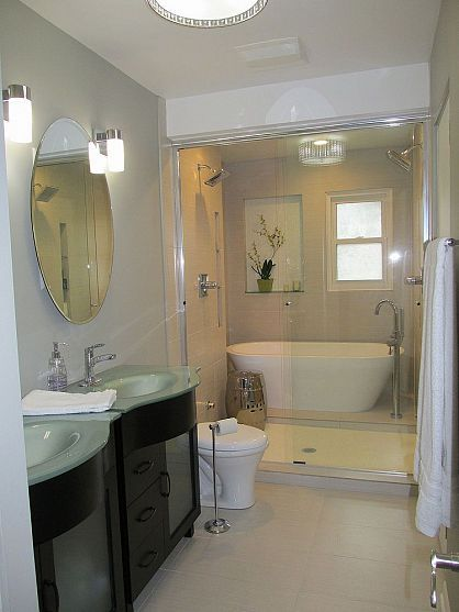 Master bathroom remodel house ideas pinterest bathroom master bathroom and master bath - Bathtub in shower ...
