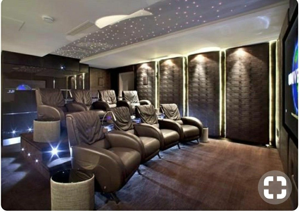 The Home Cinema Room Has Soundproofed Walls, Reclining Cinema Seats With  Steel Reading Lam.