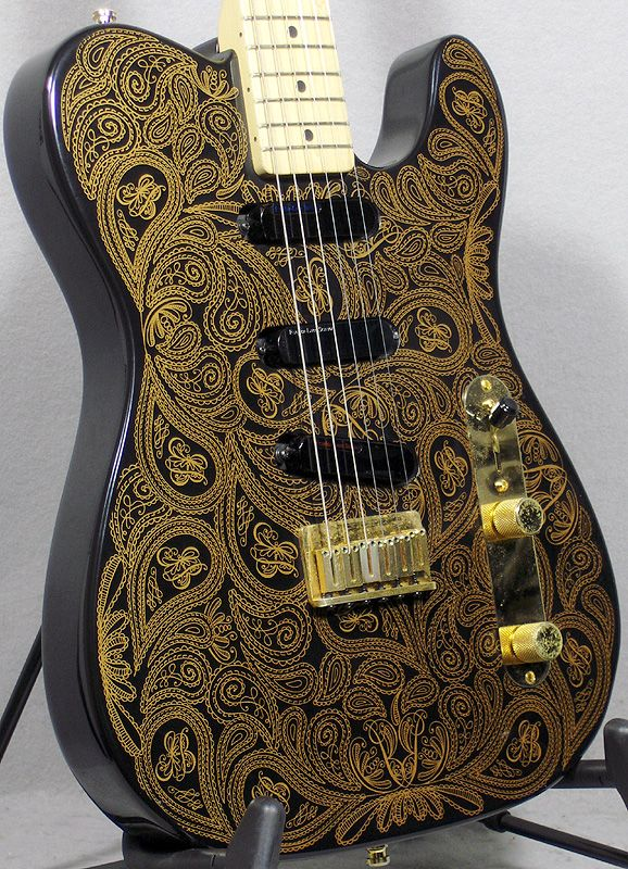 1994 fender james burton signature telecaster black/gold paisley > guitars  : electric solid body - tommy's guitar shop | gbase com