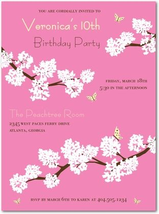 Zaris Th Birthday Party Theme Cherry Blossom Party Invitations - Birthday invitation in japanese