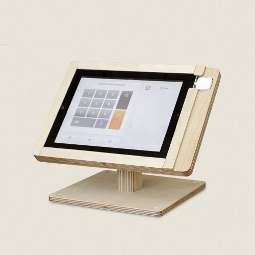 iPad and Square credit card reader, plus this stand makes your own checkout!