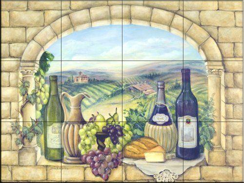 Decorative Wall Tile Murals Ceramic Tile Mural  Tuscan Wine Rita Broughton  Kitchen