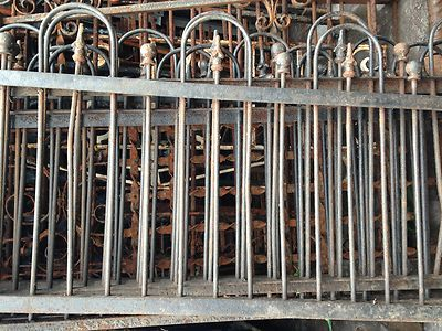 33 Feet Short Antique Wrought Iron Fence Or Garden Railing Ball