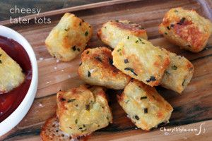 Gooey Cheese-Stuffed Tater Tots | FaveGlutenFreeRecipes.com --- These homemade tater tots are perfect for any occasion. Because they are baked, you'll notice that these tater tots are healthier than their fried alternatives. As you take a bite, the gooey Mozzarella cheese will fill your mouth with deliciousness. If you make too many, you can freeze these tater tots and simply pop them in the oven whenever you want them next.  Makes: 30 tots