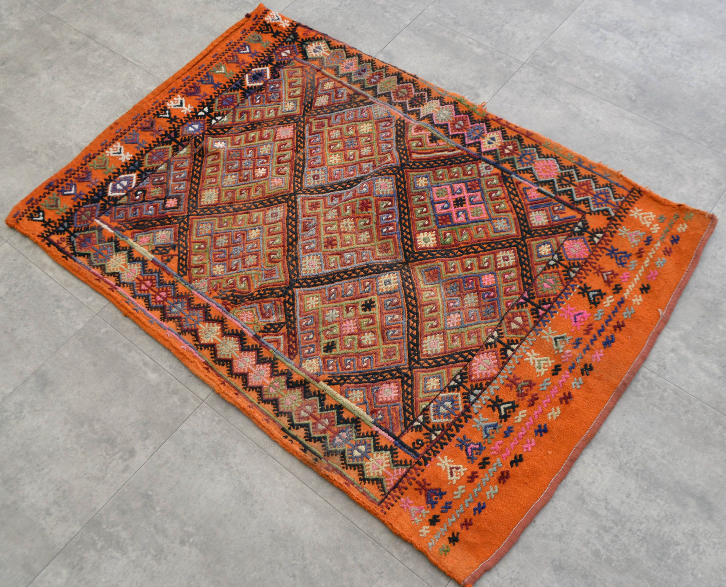 Turkish Kilim Rug Hand Woven Wool Mini Rug Vintage Sack Rug 32″ x 47″ Orange Rug - SKU BSM830 by TurkishKilimsRugs on Etsy