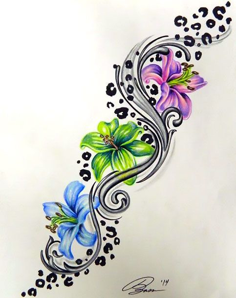 colorful leopard print flower tattoo design flower