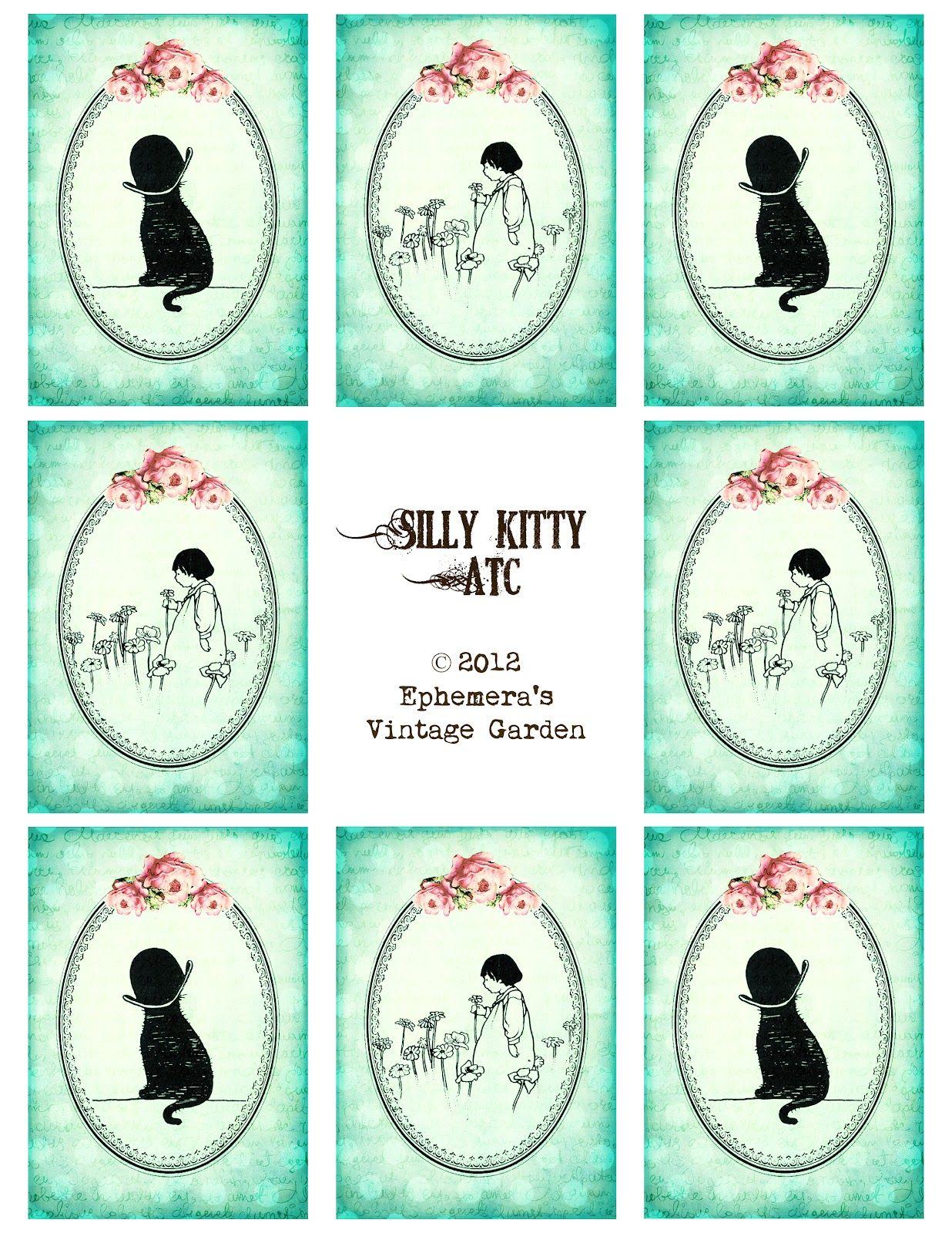 Ephemera's Vintage Garden: Weekly Freebie: Silly Kitty ATC