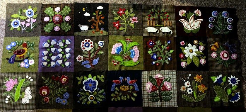 susis quilts: the third row of my caswell quilt in wool
