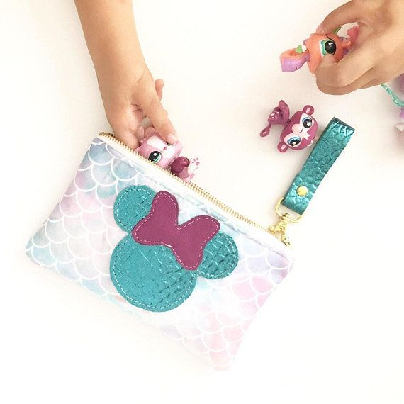 Mermaid Minnie Clutch , Watercolor purple pink mermaid zipper pouch, Make up bag, Rose gold bag, zipper pouch, pencil case, fairytale gift