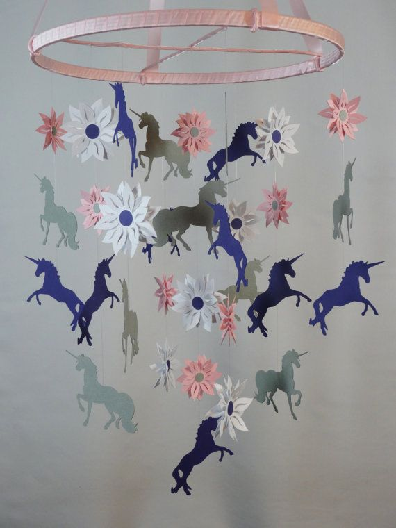 Unicorn And Flower Decorative Mobile In Pink By