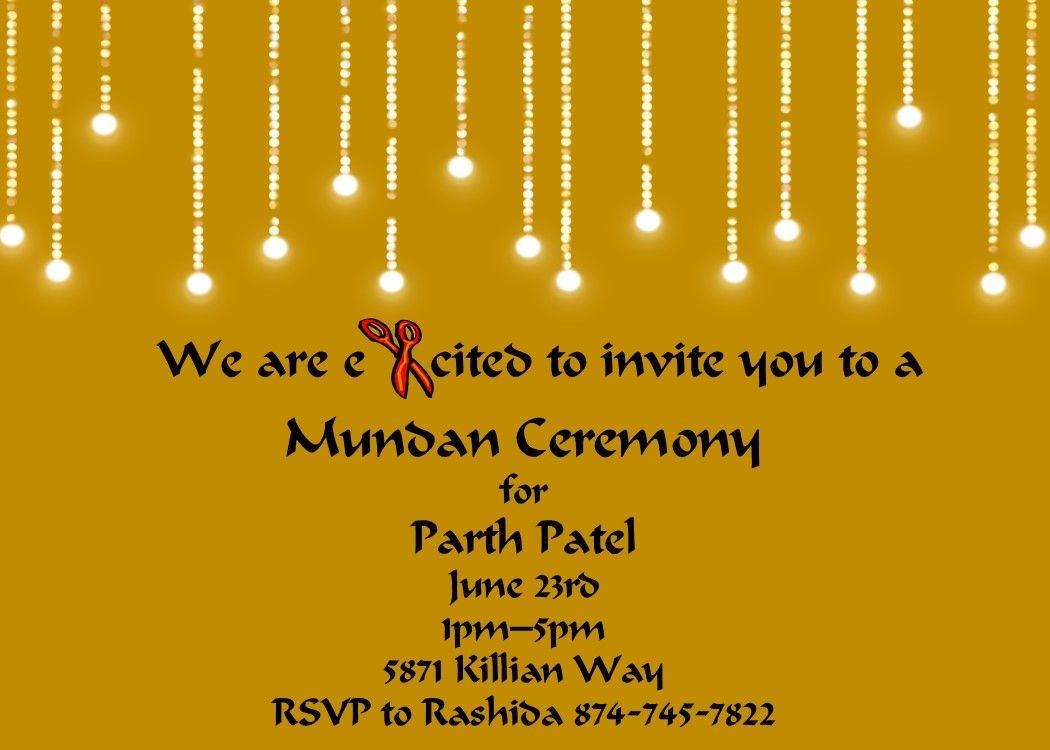 Golden Lighrs Mundan Invitations Invitations Birthday Invitations Diy Party Invitations