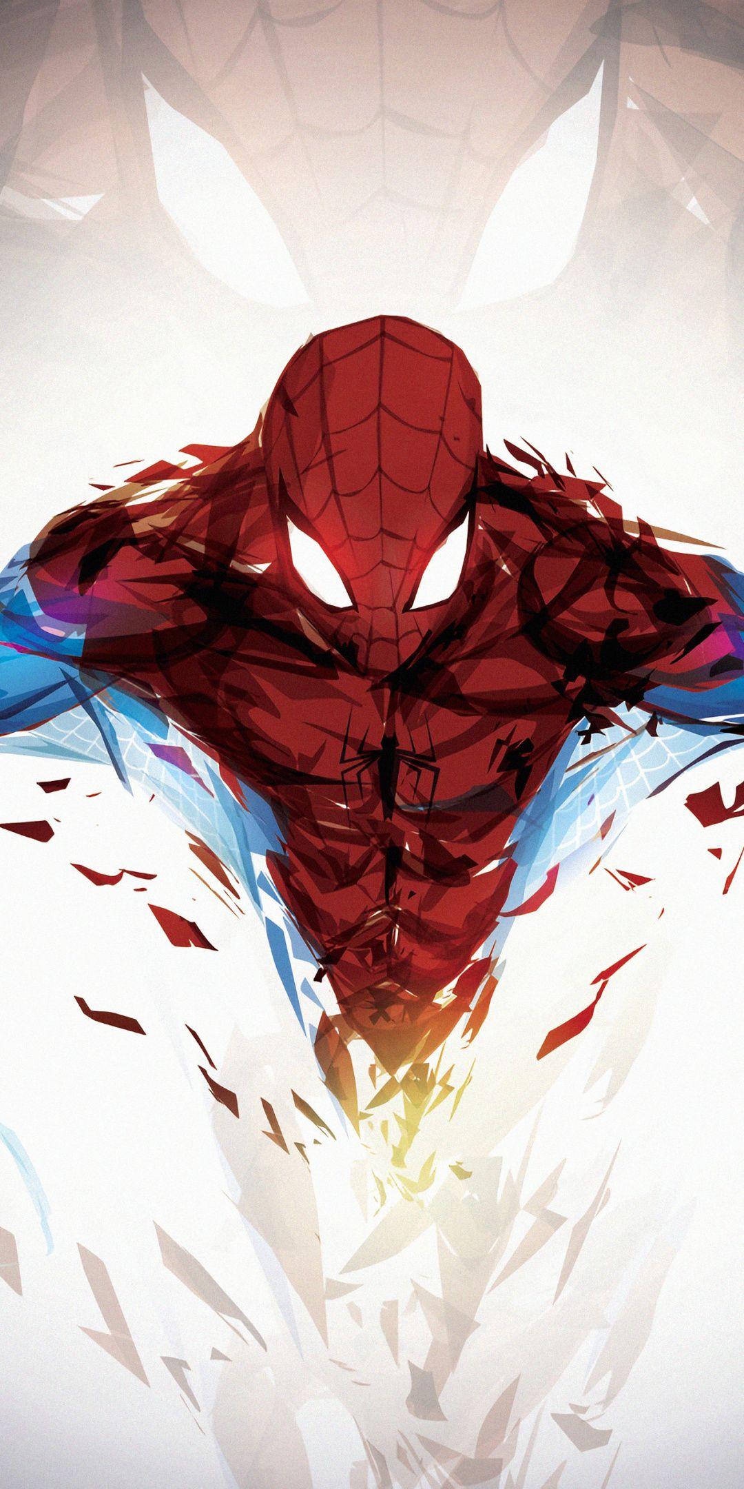 1080x2160 Shattered art, spiderman, superhero, 2019