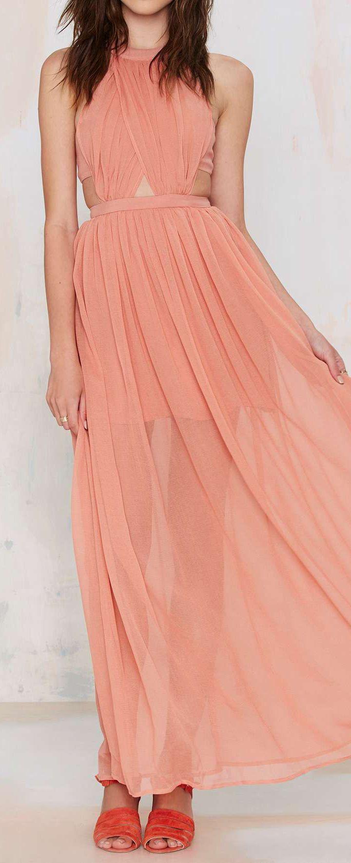 Peach Cut Out Dress