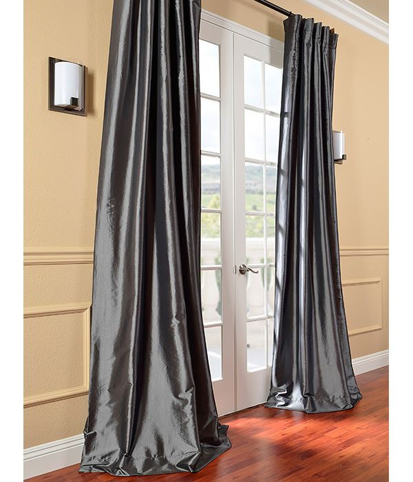 Faux Silk Taffeta Curtains Graphite 96 Inch Curtains Dining Room Drapes Unique Dining Room