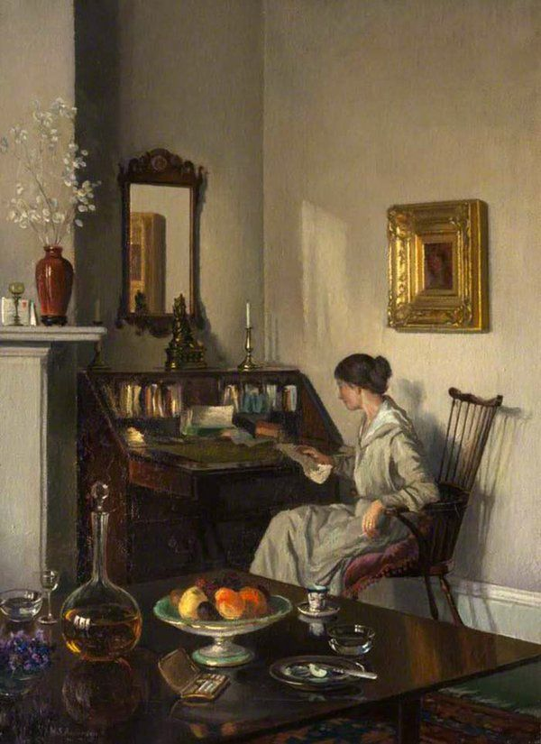 Interior, Woman at a Bureau.William Smith Anderson(Scottish, 1878-1929). Oil on canvas. Old Gala House.Anderson attended the Glasgow School of Art from 1897-1901 winning several Haldane Bursaries. From 1909 onwards he painted landscapes and street scenes in watercolour and oils. He also painted still life and interiors.