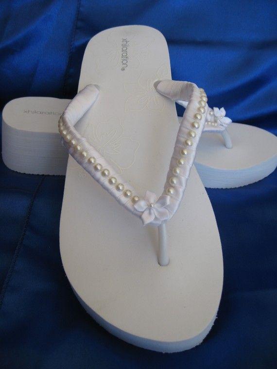 Bridal Flip Flops Pearl Design White Wedge Love These