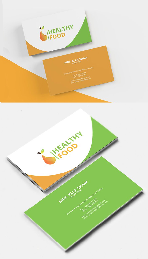 Healthy Food Business Card Food Business Card Business Card Design Minimal Business Card Template Design