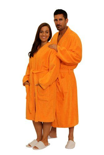 Terry Cloth Robe TowelRobes 100 Cotton Kimono Adult Hooded Unisex Bathrobe  for Women and Men Orange SM     More info could be found at the image url. 8212ab06a