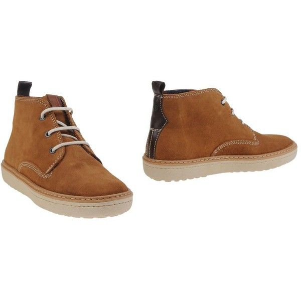 Fred Perry Ankle Boots ($107) ❤ liked on Polyvore featuring men's fashion, men's  shoes, men's boots, camel, mens leather high top shoes, mens high top ...