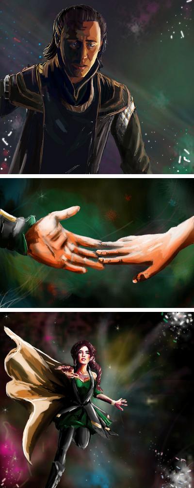 """I'll hold you!"" ""Loki…don't let me fall…"" ""I'll never. I'll never let you fall…..""  Lokis Ragnarok by waspany.deviantart.com on @deviantART"