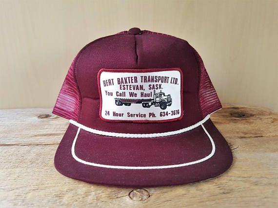 BERT BAXTER Transport Ltd. Vintage 80s Trucker Rope Hat Burgundy ... 5f149fe07d3