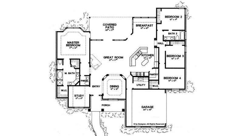 Ranch Style House Plan 4 Beds 2 5 Baths 2500 Sq Ft Plan 472 168 House Plans Floor Plans Floor Plan Design