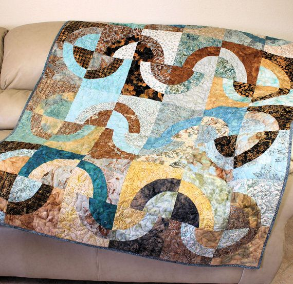 Lap Quilt in Aqua Blue and Brown Batik Fabrics