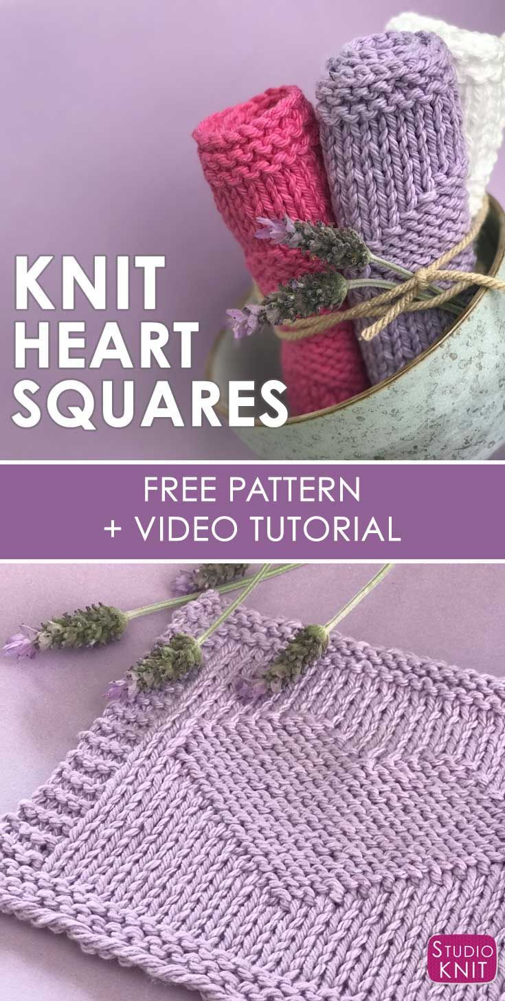Easy Heart Knit Stitch Pattern by Studio Knit for Beginners | Free ...