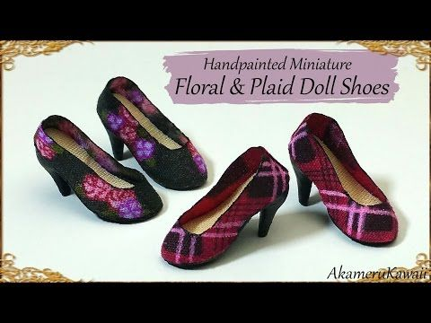 Handpainted Miniature Doll Shoes Polymer Clay/Fabric Tutorial #miniaturedolls