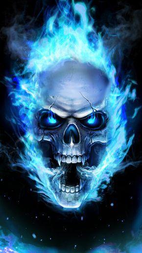 cool blue fire skull