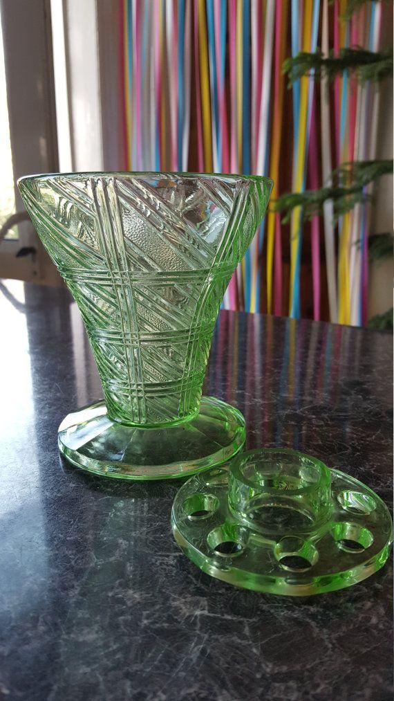 Stunning Art Deco Uranium Green Glass Vase Made By Rosice Of