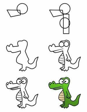 Modèles D Animaux Suite En 2019 Dessin Crocodile Facile