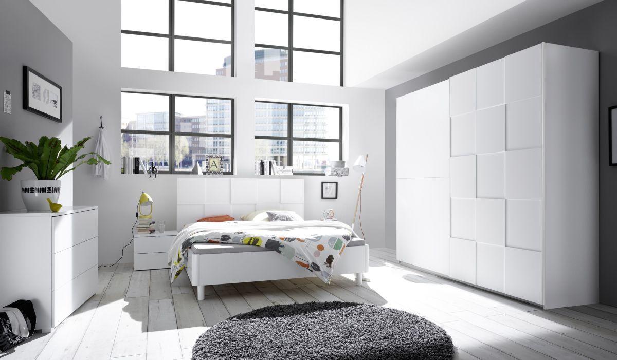 Schlafzimmer Ti | Schlafzimmer Mit Bett 180 X 200 Cm Weiss Matt Lack Mit 3d Optik