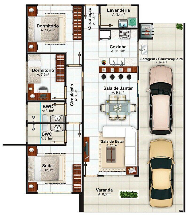 Casa pequena com 3 quartos 3 planos de casas pinterest for Planos casas pequenas