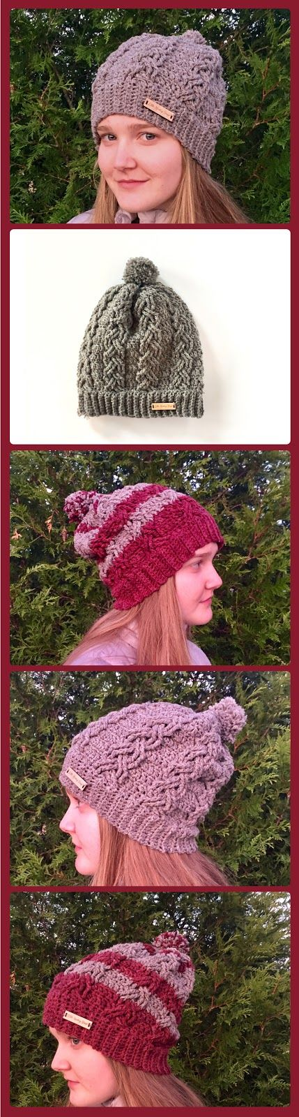 Dreaming of the Slopes Hat crochet Pattern and crochet cable stitch ...