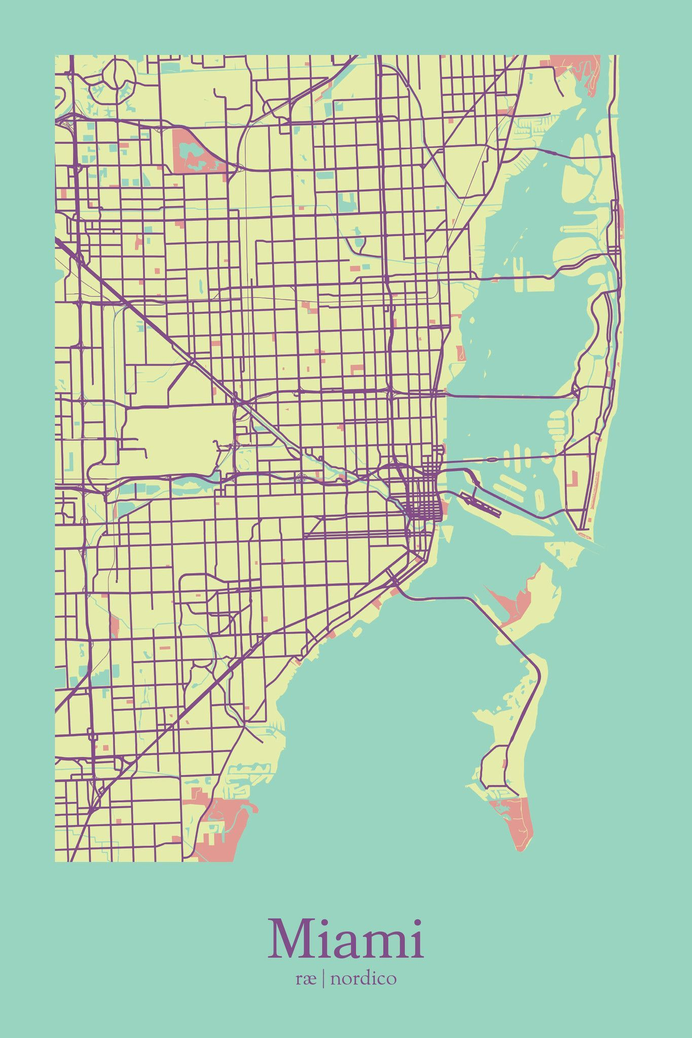 miami, usa map printrae nordico #map #miami #florida