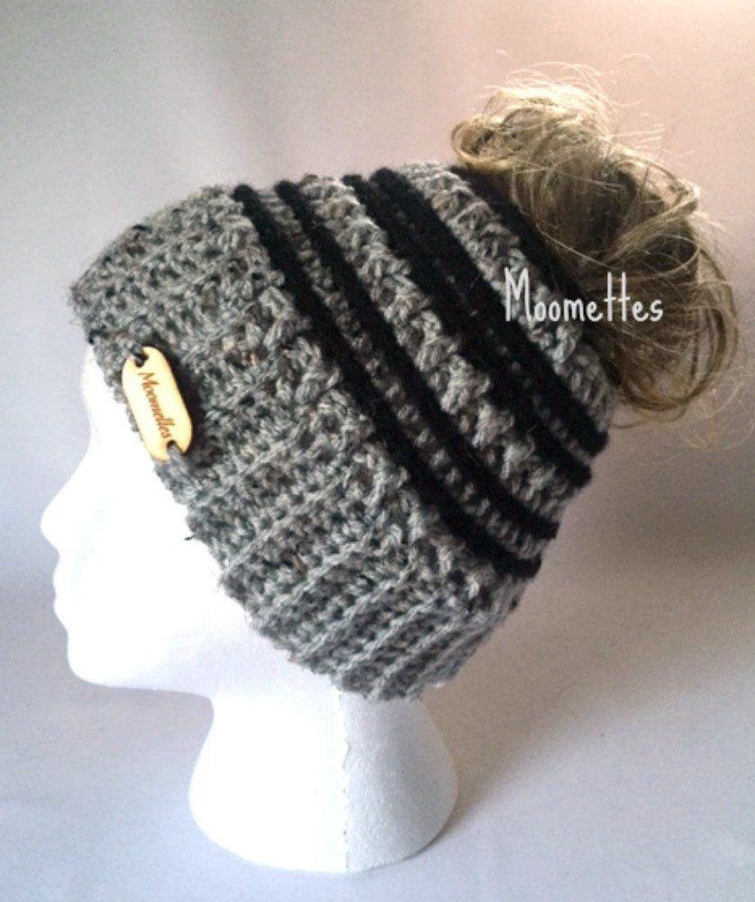 d9f2b4c5d05 Handmade Messy Bun Hat Light Gray Beanie Wood Button Runner Pony Tail  Holder Aran Fleck Black Stripe