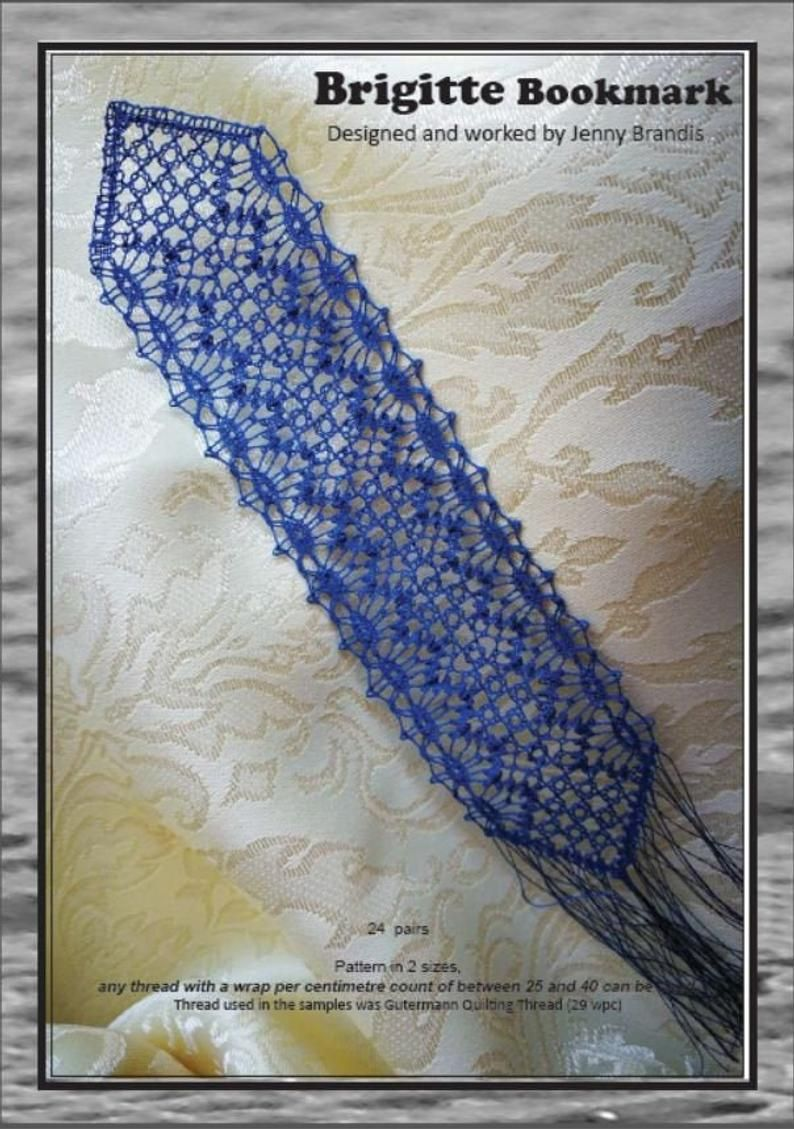 Bobbin Lace Pattern By Jenny Brandis Brigitte Bookmark With Working Diagrams And Instruction Of Stitches In 2020 Bobbin Lace Patterns Bobbin Lace Lace Patterns