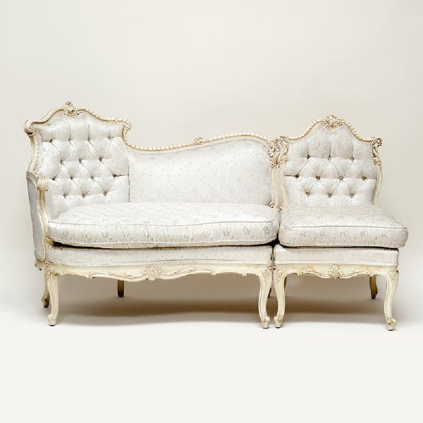 Grace sectional couch (3 piece set): Cream satin French Provincial 3-piece sectional couch with button tufting and off-white and gold frame. Pieces can be separated to make a small lounge area.