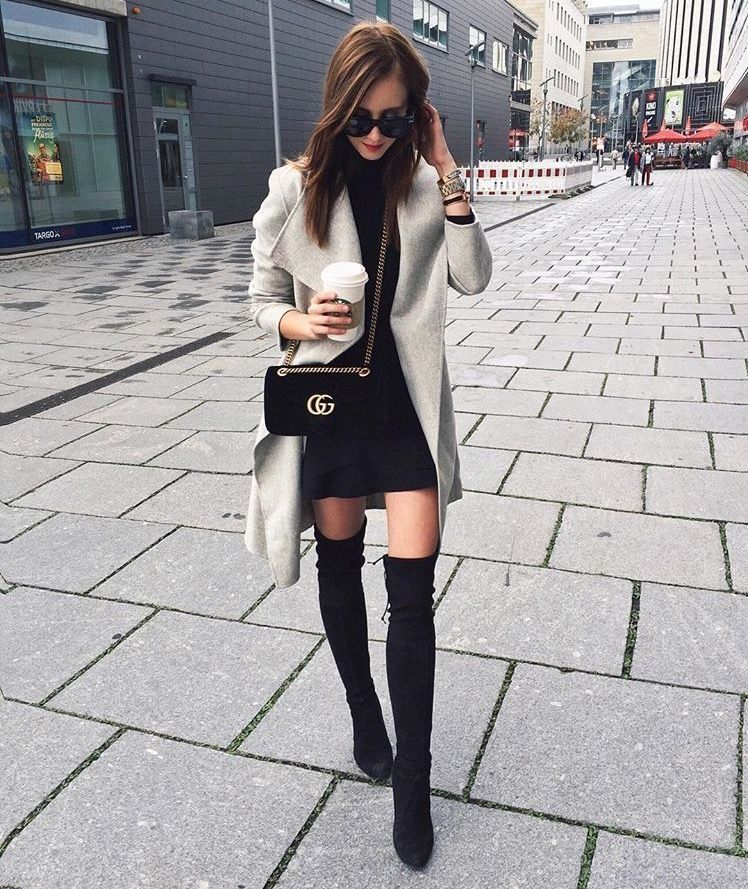 Gray Cardigan Over Little Black Dress With Black Otk Boots