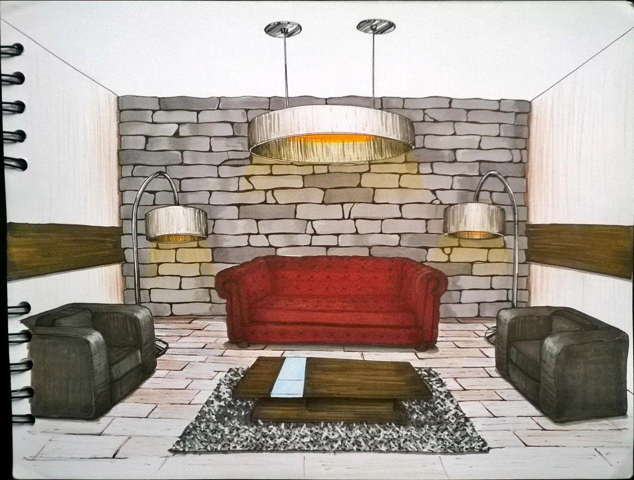 Modern Living Room Sketches sketch interior design. living room, sala. furniture. marcadores