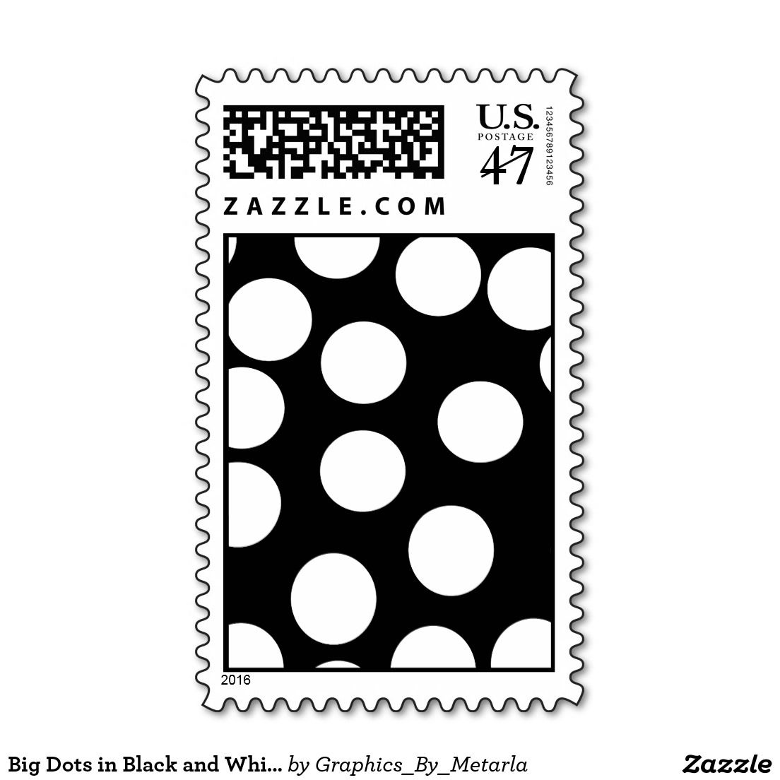 Big Dots In Black And White Postage
