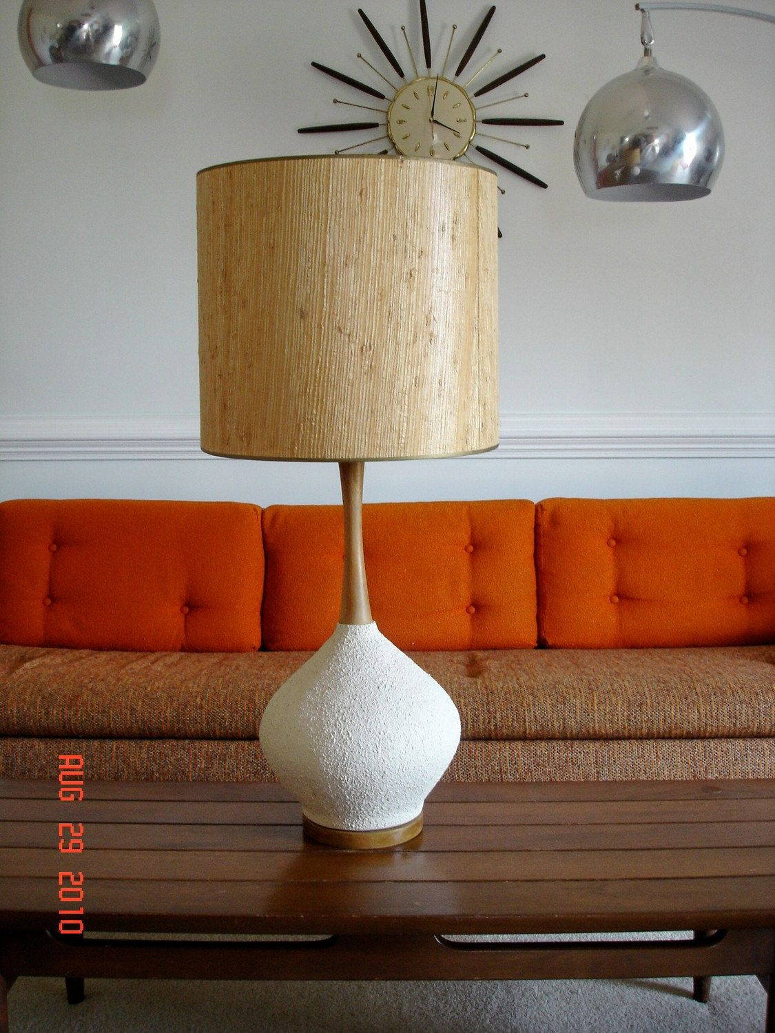 TREASURY ITEM   Vintage Mid Century Danish Modern Textured Eames Era Lamp