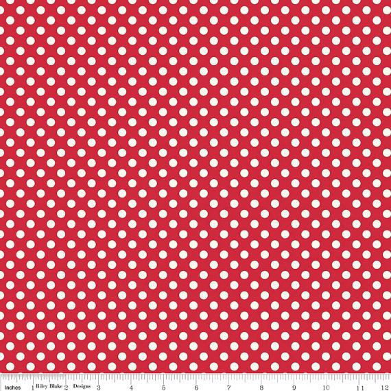 RED with Small Cream Dots from Riley Blake  1 Yard by Jambearies