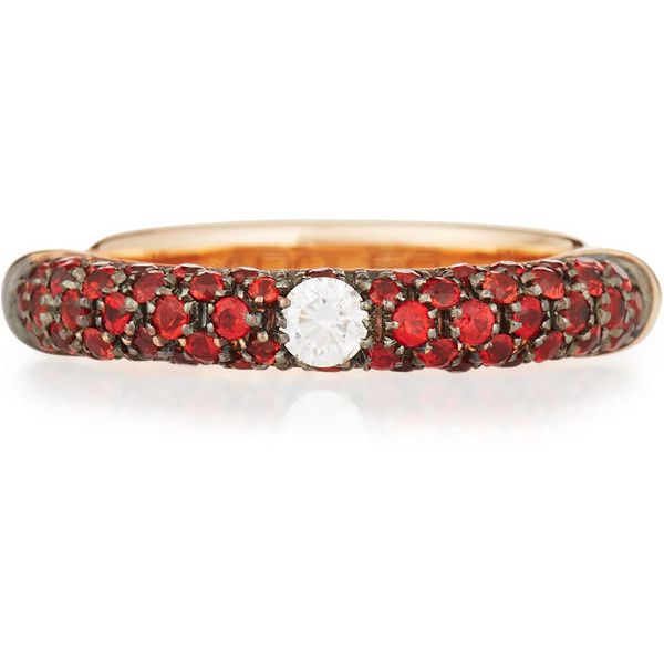 Adolfo Courrier 18K Rose Gold Red Sapphire Ring with One Diamond