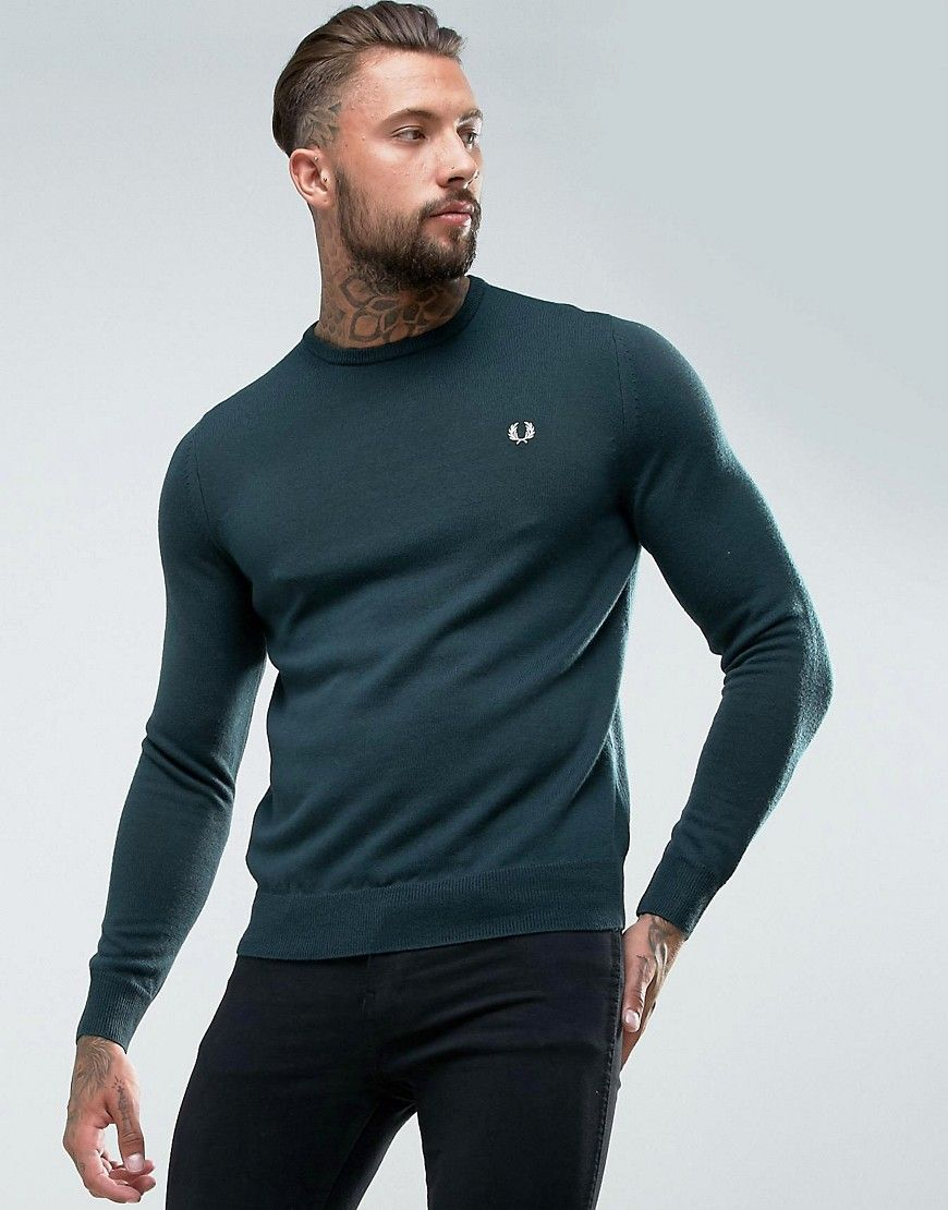 c3d2e91d169 Fred Perry Merino Crew Neck Sweater in Green | Products | Sweaters ...