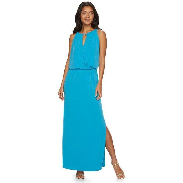 Petite Chaps Embellished Maxi Dress Tempo Teal