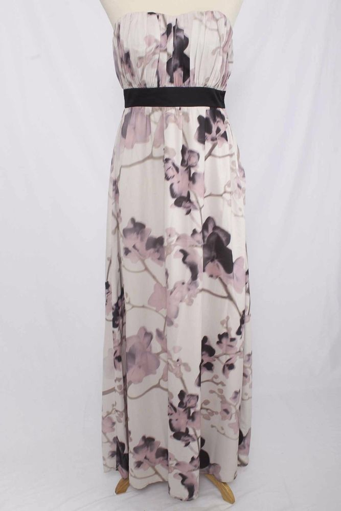 H&M Size 6 Pale Purple Floral Print Ruched Strapless Maxi